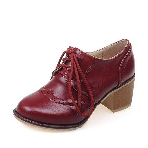 AllhqFashion Femme Couleur Unie Pu Cuir à Talon Correct Rond Lacet Chaussures Légeres Rouge