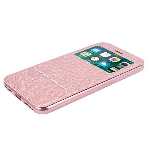 Cover per iPhone 7 Plus / iPhone 8 Plus, VemMore Custodia Finestra Vista in Flip Pelle PU Case di Ultra Sottile Libro Stile Caso con Sensore Touch Intelligente & Stent Supporto Funzione Copertura del  Oro Rosa