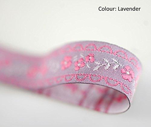 Neotrims English Roses Floral Vine gewebtem Jacquard-Band trimmen, 16mm, dekorativen Craft Zierteilen, 6atemberaubenden Farben, Polyester, lavendel, 3 m -