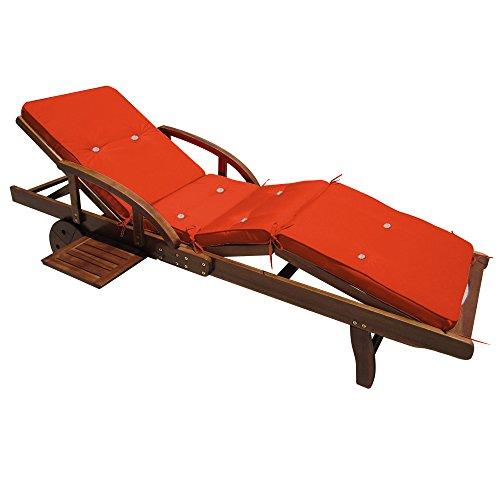 Detex® Coussin pour transat chaise longue de jardin Orange 195cm Rembourré Relax