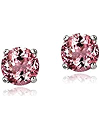 Sterling Silver .5ct Pink Tourmaline Round 4mm Stud Earrings KdXZwr