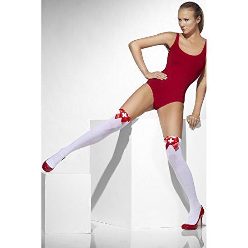 NET TOYS Krankenschwester Overknees Halterlose Strümpfe Schwestern Overknee Socken Ärztin Stockings Rotes Kreuz Thigh High Nurse Überkniestrümpfe Karnevalskostüme Damen Sexy