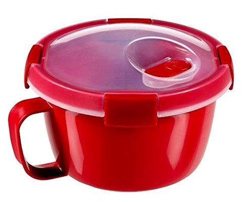 CURVER 232578 Smart Mug Micro-Ondes 0,9L, Plastique, Rouge, 16 x 16 x 11 cm