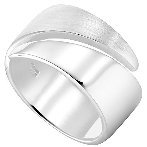 Vinani Ring Design Bandring massiv glänzend mattiert anpassbar Sterling Silber 925 Größe 56 (17.8) 2RSR-56