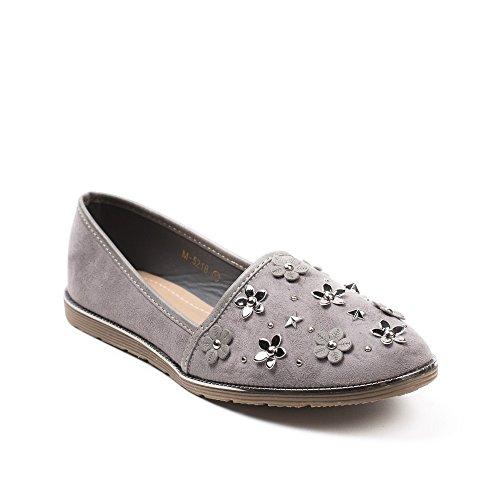 Ideal Shoes Mocassins Effet Daim Incrustés de Fleurs, Clous et Étoiles Jade Gris
