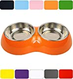 DDOXX Doppel Fressnapf | Futternapf | Melamin | Edelstahl | für große, mittelgroße, mittlere & kleine Hunde, Katzen, Hamster, Welpen | Napf Hund Katze | Hundenapf | Katzennapf | Orange, 2 x 700 ml