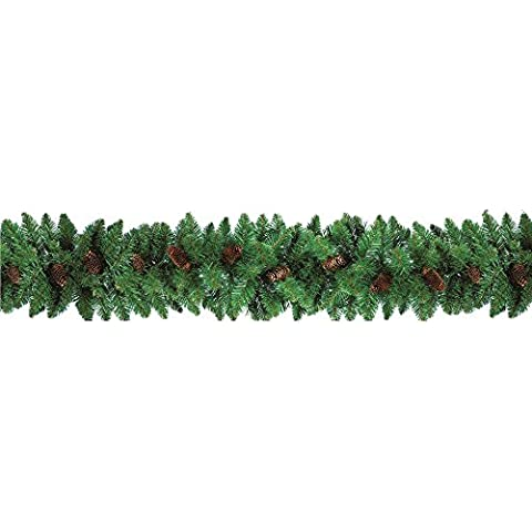 Boa festone ghirlanda natalizia verde con pigne 2,7