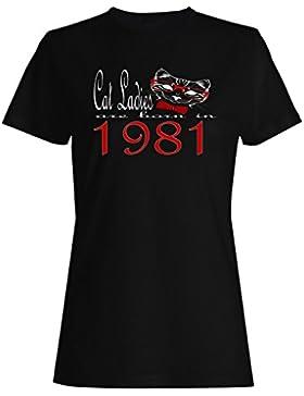 Damas de gato nacen en 1981 camiseta de las mujeres b818f