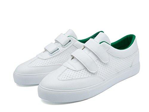 SHFANG Dame Schuhe Retro Pu flache untere Freizeit Bewegung bequeme kleine weiße Schuhe Studenten Schule Einkaufen drei Farben Green