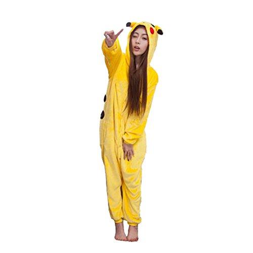 Mädchen Kostüme Pikachu (WTUS Unisex Erwachsene Schlafanzug Karneval Tier Cosplay Plüschtier)