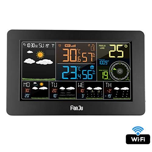 XMAGG® WLAN Wetterstation mit Außensensor und APP-Steuerung Smart Weather Monitor Uhr mit USB-Anschluss Innen- Außentemperatur und Luftfeuchtigkeit Windgeschwindigkeit Digitaluhr