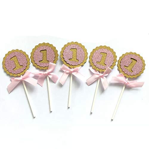 Blau Rosa Number 1-Kuchen-Deckel-Baby 1. Geburtstag feiert Party-Dekor Cupcake Zubehör Accessoires für Kinder Parteien (Pink)