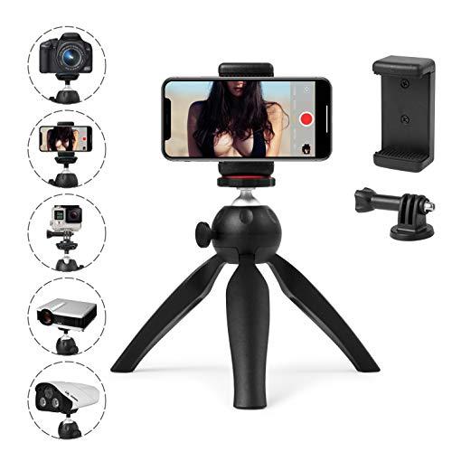 Polarduck Mini Stativ, Handy Stativ, Kamera Stativ, Stativ Smartphone, Stativ für iPhone/DLSR/Beamer/Webcam mit GoPro Halterung und Smartphone Halterung, Vollständig Einstellbarem Winkel und Drehung