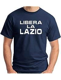 T-Shirt Hombre Azul Navy T0692 Libera la Lazio Calcio Ultras c50d3cc455f86
