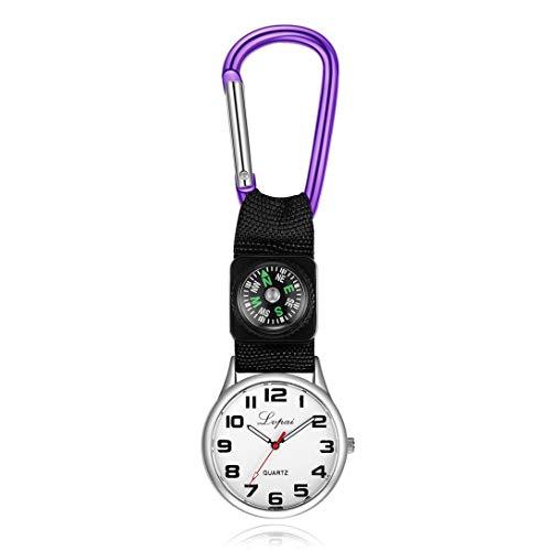 Swiftswan Karabiner Clip Uhr, Männer Frauen Taschenuhr Gürtel Clip Tunika Uhr Brosche mit Kompass für Ärzte Krankenschwestern Sanitäter Köche Sport