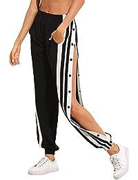 SOLY HUX Damen Hosen Sweatshose Streifen Sweatpants Elastischer Bund Jogginghose mit Taschen, Knöpfe
