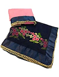 By Design Net Saree With Blouse Piece (61_Blue_Free Size)