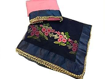 Saree ( By Design Women's Neavy Blue Net Saree With Dhupion Blouse )