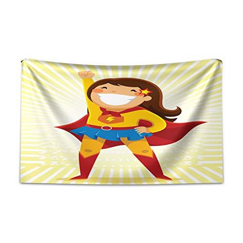 Kostüm Girl Mime - ABAKUHAUS Superheld Wandteppich und Tagesdecke, Heldin Girl Kostüm aus Weiches Mikrofaser Stoff Kein Verblassen Klare Farben Waschbar, 230 x 140 cm, Mehrfarbig