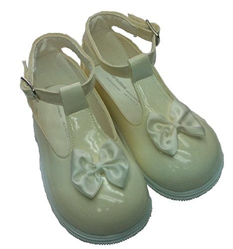 Baby Schuhe zur Taufe, für Mädchen, verschiedene Größen für 2 bis 6 UK, Rot, Schwarz, Elfenbeinfarben/Pink Elfenbein - Elfenbein