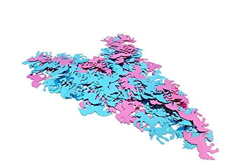 versandhop Konfetti Sterne Einhorn Herz Gold Silber Rot Blau Orange Schwarz Lila Pink Hell-Blau Grün Braun Türkis Violett 15g 45g 100g 450g 1000g (45g, Einhorn - Rosa+Hellblau)