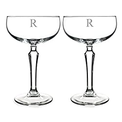 Cathy's Concepts Personalized Champagne Coupe Toasting Flutes, Monogrammed Letter-R, Clear, Set of 2