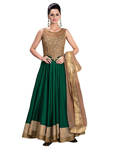 Sancom Brand New Green Colour Banglori Silk With Heavy Embroidery & Border Work Anarkali Suit  available at amazon for Rs.1029