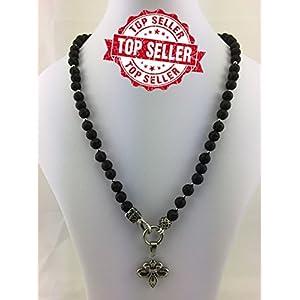 2in1 Halskette Y-Kette Rosenkranz BLACK Lava, Herren Schmuck Männer schwarz mit freier ANHÄNGERAUSWAHL, Perlenkette Bikerschmuck Rocker Perlen K_79