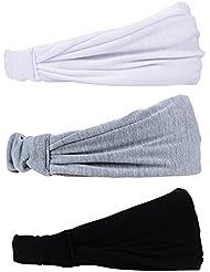 eBoot 3 Pièces Sports Bandeau Élastique Coton Bandeau Sueur Hair Band pour Running Yoga Gym et Sports, Noir, Gris et Vert Profond