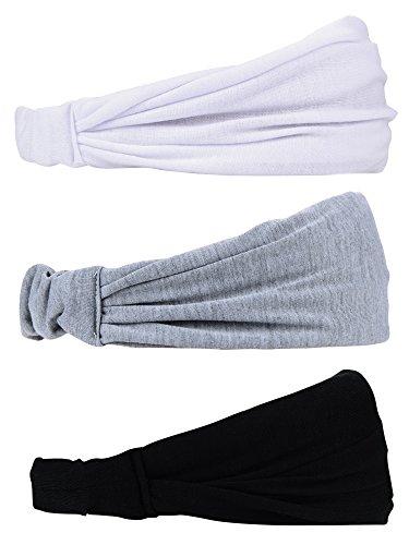 eBoot 3 Stück Sport Stirnbänder Elastische Baumwolle Haarband Schweiß Haar Band für Laufen Yoga Fitniss und Sport, Schwarz, Grau und Weiß