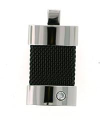 Vilma Righi Anhänger aus Edelstahl mit einem weissen Zirkonia ca. 18,8 mm breit und ca. 36 mm lang, ionisch geschwärzt mit Flechtmuster