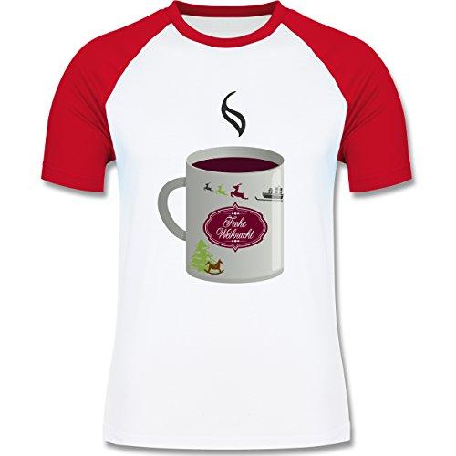 Weihnachten & Silvester - Glühwein Frohe Weihnachten - zweifarbiges Baseballshirt für Männer Weiß/Rot