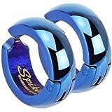 Pair of Blue CLIP-ON Huggie Hoop Earrings (no piercing required) Stainless Steel