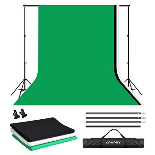 CRAPHY 2m x 3m Soporte de Fondo con 1.8m x 2.8m Fondos (Blanco, Negro, Verde) para Fotografía y Vídeo
