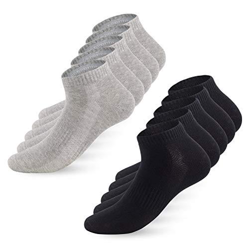 YouShow Sneaker Socken Herren Damen 10 Paar Sportsocken Kurze Halbsocken Baumwollsocken Unisex Atmungsaktiv_Schwarz Grau_39-42