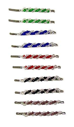 12grün blau rot schwarz braun Perlen Bobby Pins Damen Kirby Haarklammern Bob Folien Styling für Mädchen Frauen–5cm