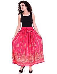 Handicraft-Palace Women's Rayon Peasant Beach Maxi Skirts (Free Size, Pink,SRS -14)