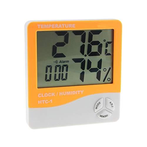 TMY Haushalt Temperatur Luftfeuchtigkeit Meter LCD Indoor Hohe Präzision Multifunktions-Digitalanzeige Wetterüberwachung Uhren (Color : Orange, Größe : 10cm)
