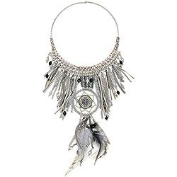 Statement Kette Traumfänger Halskette Retro Modeschmuck Peace Anhänger Federn Glas-Perlen Hippie Collier (8418) (grau)
