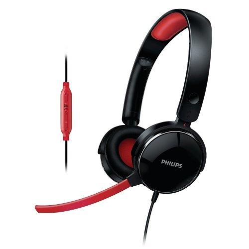 Philips SHG7210/10 Gaming-Bügelkopfhörer inkl. mini-Mikrofon schwarz/rot