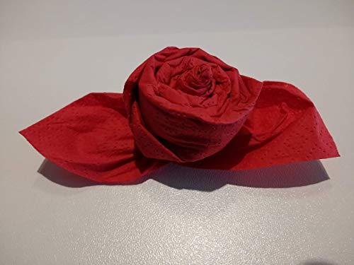 Servietten Rose in rot, 6 er Set, zur Hochzeit, Geburt, Taufe, Kommunion, Valentinstag, Muttertag als Geschenk, Mitbringsel und zu allen besonderen Anlässen