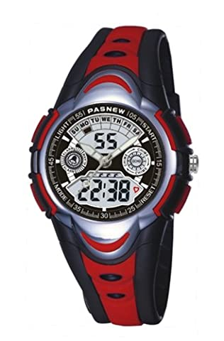 HighQuality PASNEW Waterproof Analog-Digital Chronograph Sport Watch for boys and girls red
