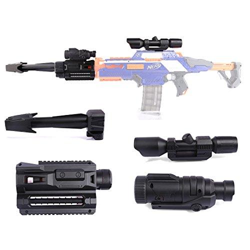 BOROK Upgrade Kit Zubehör: Zielfernrohr + Taschenlampe + Guide Rail Adapter + Vohrrohr Adapter für Nerf Stryfe/Nerf Retaliator/Nerf Rapidstrike/Nerf Modulus Regulator