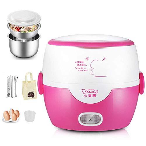 Reiskocher (1,0l Kapazität / 200W), Dampfgarer/Dampfgarerfunktion,automatische Warmhaltefunktion| wärmeisolierendes Doppelwanddesign,Pink - Reis Topf Maker