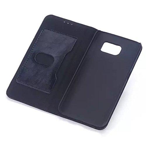 Samsung Galaxy S6 Edge Case,magnetische Folio Flip Stand Bei Kartenschlitz Einfarbig Fall Hardcover Für Samsung S6 Rand ( Color : Rose , Size : Samsung S6 Edge ) Black