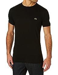 Lacoste Mens Black Round Neck T-Shirt Coton Pima