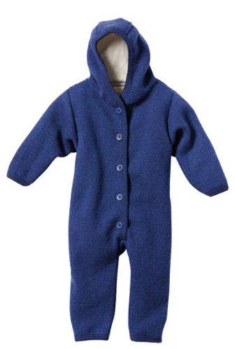 Disana 100% Bio gekocht Merino Wolle Overall Strampler Gr. 86/92 (12-24 Monate), navy (Navy Pant Wolle)