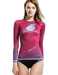 Rashguard Chemise, plongée et voile UV Rashguard Top Chemise pour femme fille Sports Fuchsia