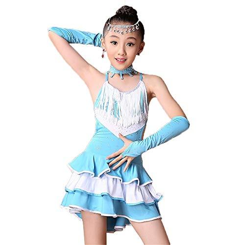 Kinder Mädchen ärmelloses Latin Dance Kleid Rumba Salsa Samba Ballsaal Dancewear Performance Wettbewerb Tanz Kostüm Outfit mit Hand Ärmeln Halskette Tanzbekleidung für besondere Anlässe
