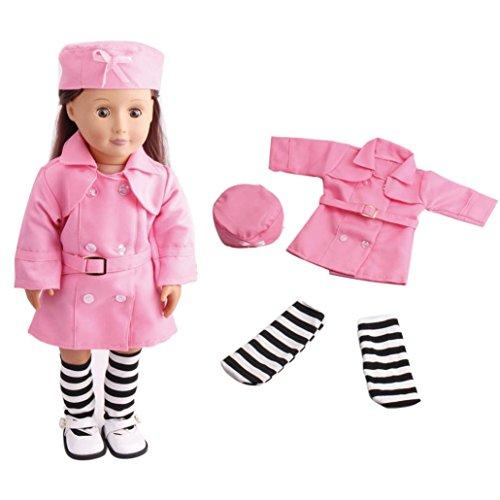 HKFV 3PC Puppe Kleidung Arbeit Uniform mit Hüte und Socken für 18 Zoll American Girl Puppe 18-Zoll-American Girl Puppe Krankenschwester Rock 3 Sätze von c49 (American Girl Puppe Grace Kleider)